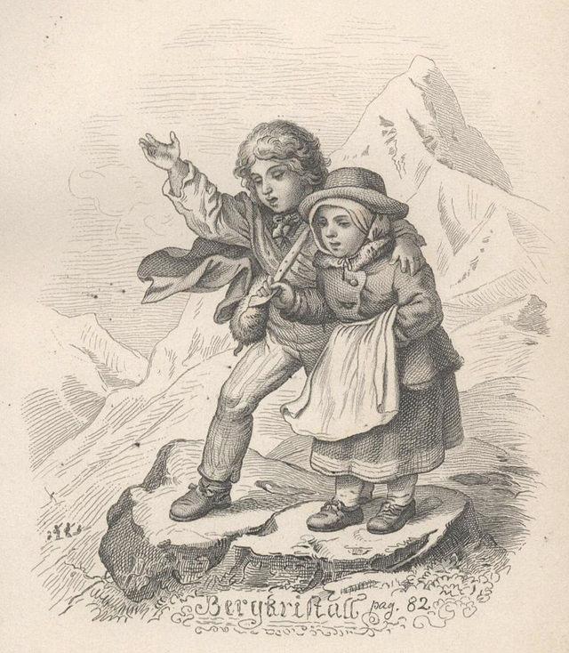 Un'illustrazione di Ludwig Richter per la prima edizione (1853) della raccolta di novelle  Pietre colorate di Adalbert Stifter, dove compariva anche il racconto Cristallo di rocca.