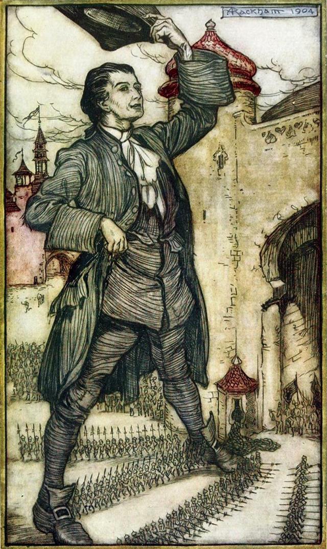 L'imperatore di Lilliput passa in rassegna le truppe. L'illustrazione è di Arthur Rackam, 1904. Per Gulliver è un momento alto.