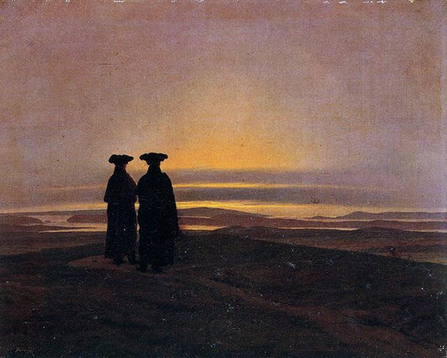 Caspar David Friedrich, Abendlandschaft mit zwei Männern, 1830-1835, San Pietroburgo, Museo dell'Hermitage