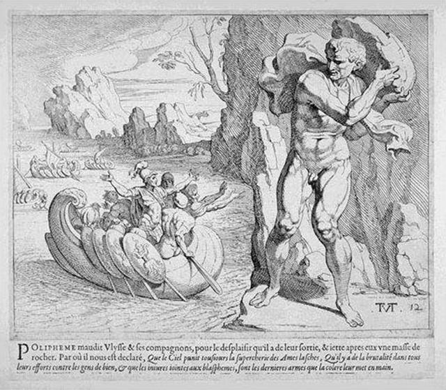 Polifemo maledice Ulisse e i suoi compagni.  Ma la sua furia è ingannata dalle bugie dell'eroe greco. L'incisione è opera di Theodor Thulden (1606- 1669)