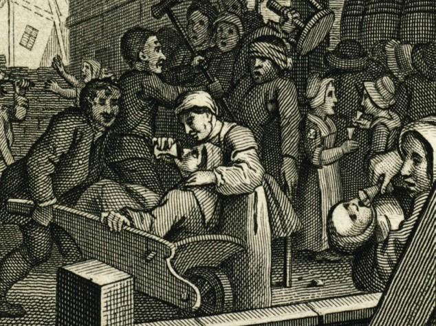 Un particolare di Gin Lane , incisione di Wiliam Hogarth del 1751