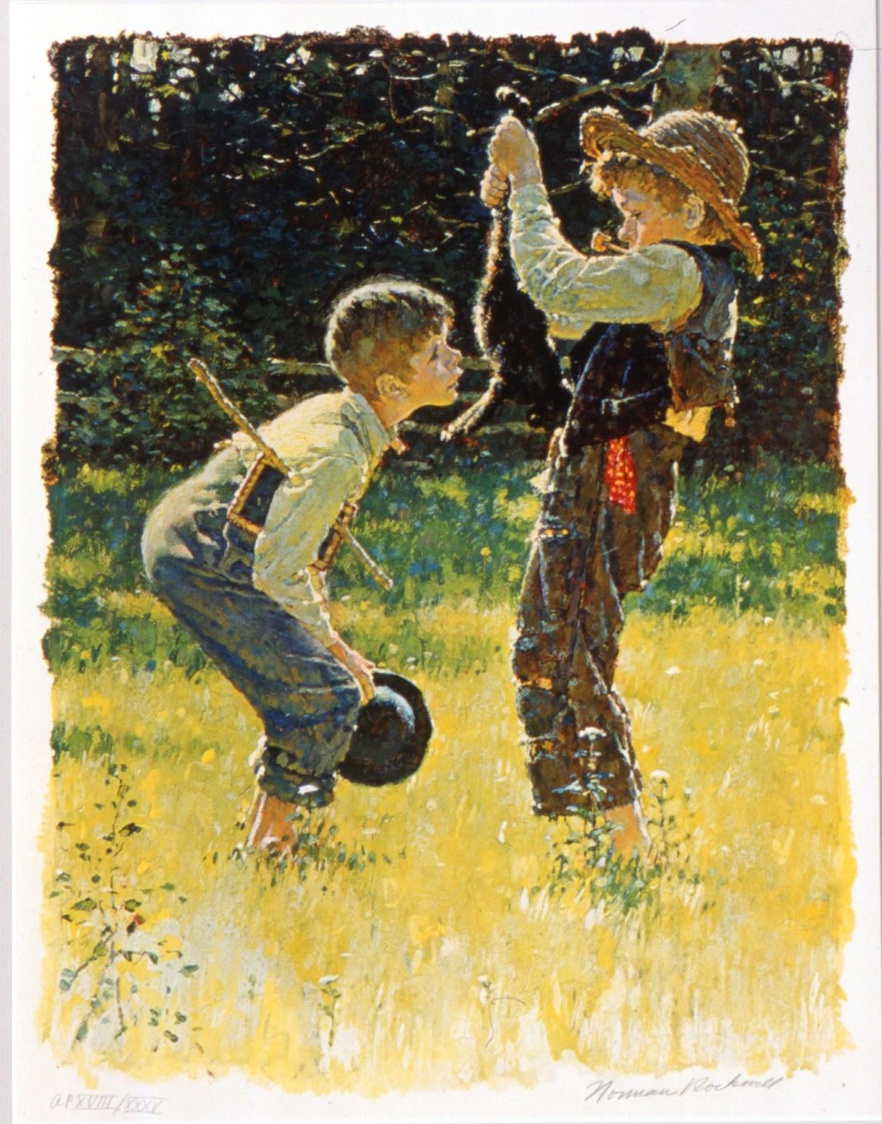 Tom Sawyer e Huckleberry Finn secondo Norman Rockwell: l'edizione di Le avventure di Tom Sawyer  da lui illustrata, fu pubblicata nel 1936 per i tipi della Heritage Press, New York.