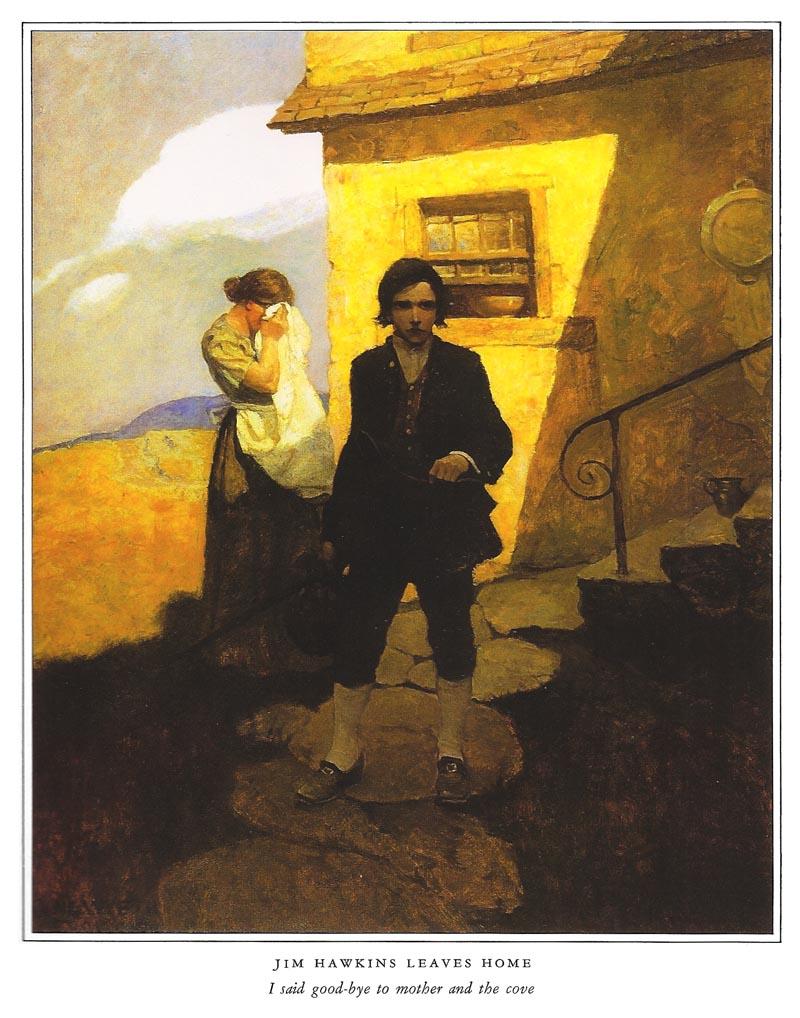 """Il giovane eroe dell' Isola del tesoro di Robert Louis Stevenson,  nell'interpretazione a olio di Newell Converse Wyeth per l'edizione Scribner's di New York del 1911. In evidenza la """"smartitudine"""" dello sguardo e della postura"""