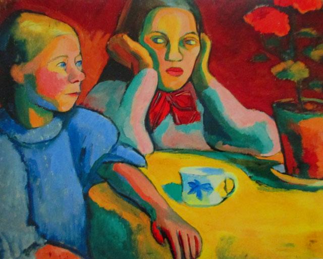 Deux fillettes finlandaises, 1907, Kunsthalle, Emden. È l'anno in cui Sonia Terk conosce Robert Delaunay a Parigi. Il colore sembra prendere ancora ordini dalla forma, ma ormai non si tratta che suggerimenti, appena sussurrati. Gli oggetti sono improvvisazioni cromatiche e solo il rosso assicura il mantenimento dell'ordine.