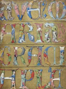 """Ave Maria Gratia Plena"", pagina miniata tratta dal Libro d'Ore Ms.Latin 1173 (1475-1500), Bibliothèque nationale de France."