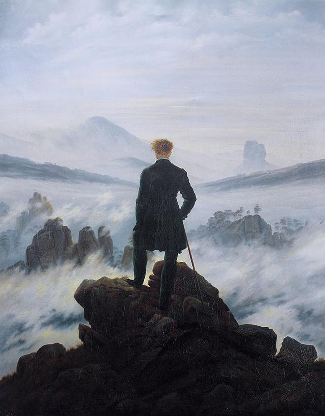 Caspar David Friedrich, Viandante sul mare di nebbia, 1818, Hamburger Kunsthalle