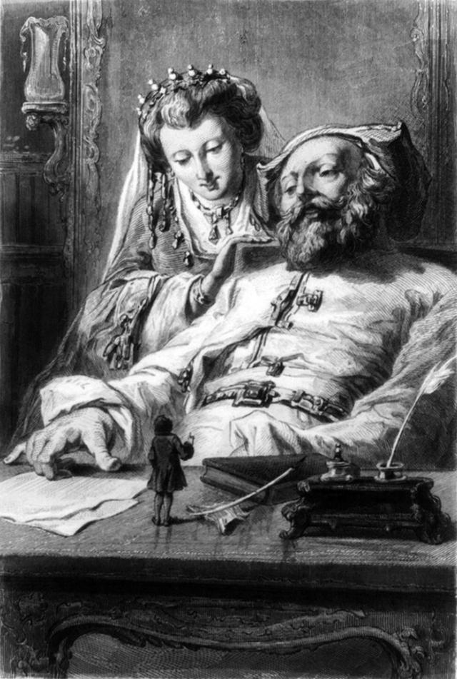 Gulliver rivolge i suoi omaggi al Re e alla Regina di Brobdingnag, di cui percepisce l'indubitabile maestà. Non si può dire sia un momento basso nelle sue avventure, ma certo è una non piccola lezione.