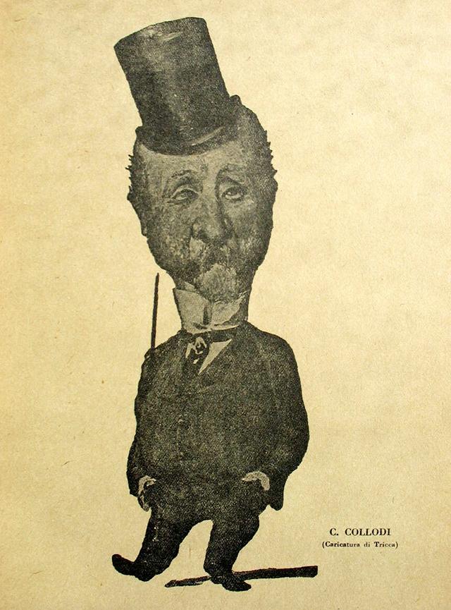 """Carlo collodi in una caricatura di Angiolo Tricca. L'autore di """"Pinocchio"""" era un gran bevitore: il suo naso rosso non era lungo ma funzionava benissimo da indice segnaletico."""
