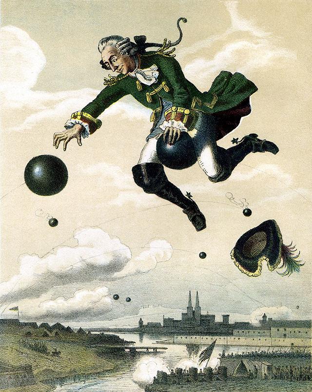 August Levin von Wille (1828 - 1887).  Il barone di Münchausen è un affabulatore compulsivo che inganna il suo pubblico  passando con disinvoltura da un'invenzione all'altra