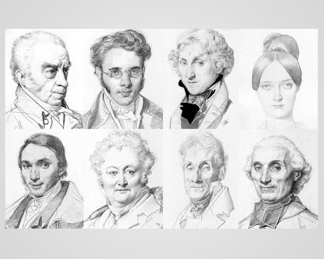 Dominiques Ingres, collage dei suoi disegni-ritratto